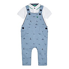 J by Jasper Conran - Baby boys' blue printed dungarees and t-shirt set