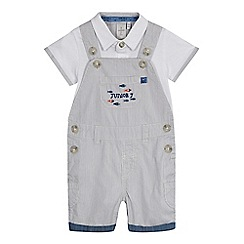 J by Jasper Conran - Baby boys' grey applique bib shorts and bodysuit set