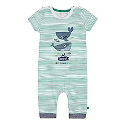 J by Jasper Conran - Babies white and green striped whale print romper suit