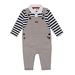 J by Jasper Conran - Baby boys' pale grey cord dungarees and top set