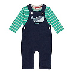 J by Jasper Conran - Baby boys' whale applique dungarees and long sleeve t-shirt set