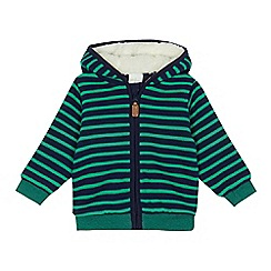 J by Jasper Conran - Baby boys' green and navy stripe zip hoodie