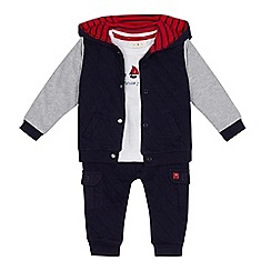 J by Jasper Conran - Baby boy's assorted quilted jacket, London applique t-shirt and jogging bottoms set
