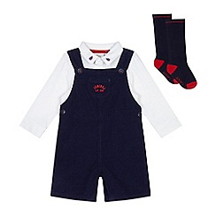 J by Jasper Conran - Babies navy dungarees and white polo body set