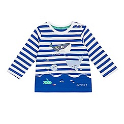 J by Jasper Conran - Baby boys' blue stripe whale applique t-shirt
