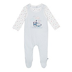 J by Jasper Conran - Baby boys' light blue train applique dungarees and star print bodysuit set