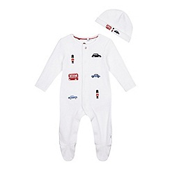 J by Jasper Conran - Baby boys' white embroidered sleepsuit and hat set