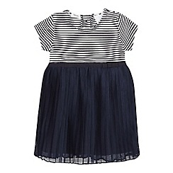 J by Jasper Conran - Baby girls' navy striped netted dress