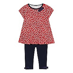 J by Jasper Conran - Baby girls' red floral print tunic and leggings set