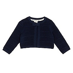 J by Jasper Conran - Baby girls' navy texture stripe cardigan