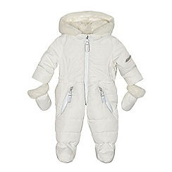 J by Jasper Conran - Baby girls' white padded snowsuit and mittens