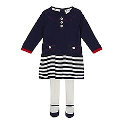 J by Jasper Conran - Baby girls' navy striped knitted dress and tights set