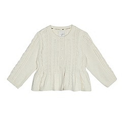 J by Jasper Conran - Baby girls' cream cable knit cardigan