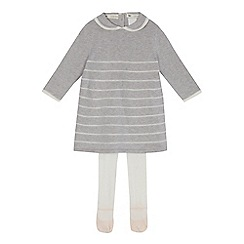 J by Jasper Conran - Baby girls' grey striped knitted dress and tights set
