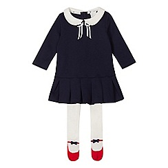 J by Jasper Conran - Baby girls' navy Peter Pan collar dress and tights set