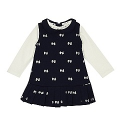 J by Jasper Conran - Babies navy jersey bow print pinafore and top set