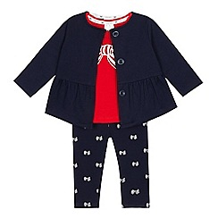 J by Jasper Conran - Baby girls' navy jacket, bow print leggings and top set