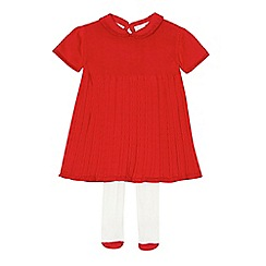 J by Jasper Conran - Baby girls' red cable knit dress with tights