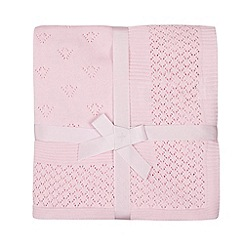 J by Jasper Conran - Babies pink knitted border blanket
