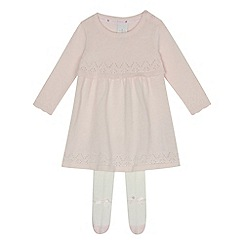 J by Jasper Conran - Baby girls' light pink pointelle dress and tights set