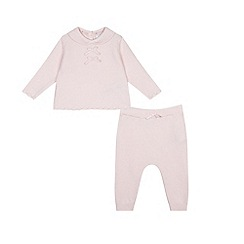 J by Jasper Conran - Baby girls' pink knitted two piece set
