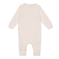 J by Jasper Conran - Baby girls' light pink embroidered bunny knitted romper suit