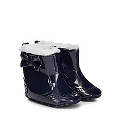 J by Jasper Conran - Baby girls' navy patent faux fur lined boots