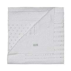 J by Jasper Conran - Babies white textured patchwork pram blanket