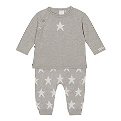 J by Jasper Conran - Babies' grey star knit jumper and bottoms set