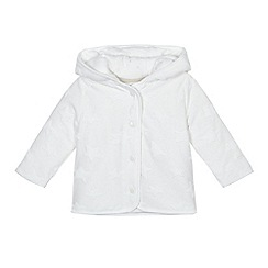 J by Jasper Conran - Babies white textured star hooded sweater