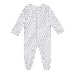 J by Jasper Conran - Babies white star print velour sleepsuit