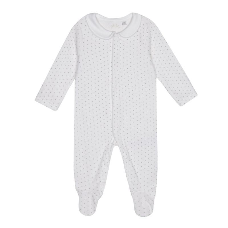 J by Jasper Conran Babies white star print velour sleepsuit