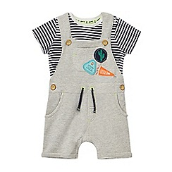 Mantaray - Baby boys' grey dungarees and striped top set