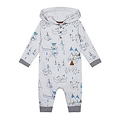 Mantaray - Baby boys' natural forest print hooded romper