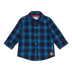 Mantaray - Baby girls' navy checked cord shirt