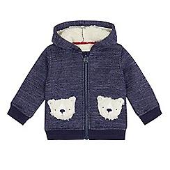 Mantaray - Baby boys' blue teddy bear pocket hoodie