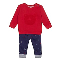 J by Jasper Conran - Baby boys' red sweatshirt and jogging bottoms set