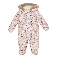 Mantaray - Baby girls' pink floral print snowsuit