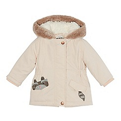 Mantaray - Baby girls' pale pink raccoon pocket parka
