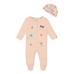 Mantaray - Baby girls' pink applique sleepsuit with hat