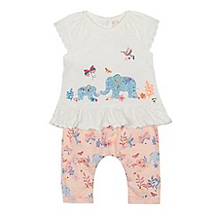 Mantaray - Baby girls' ivory and pink applique top and bottoms set