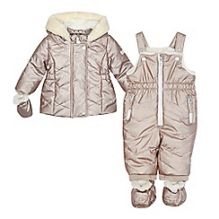 J by Jasper Conran - Baby girls' pink metallic hooded jacket and salopettes set