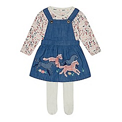Mantaray - Baby girls' blue horse applique dress, top and tights set