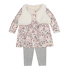 Mantaray - Baby girls' forest themed print dress, borg gilet and leggings set
