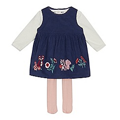 Mantaray - Baby girls' navy floral embroidered dress, top and tights set