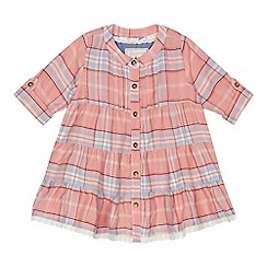 Mantaray - Baby girls' pink checked shirt dress