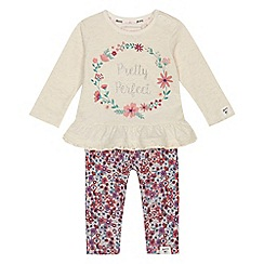 Mantaray - Baby girls' off white 'Pretty perfect' slogan top and leggings set