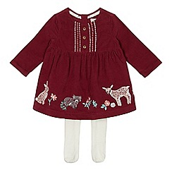 Mantaray - Baby girls' dark pink cord dress with tights