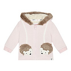 Mantaray - Baby girls' pink hedgehog applique hooded jacket