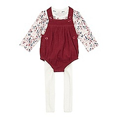 Mantaray - Baby girls' dark pink cord dungarees and top set